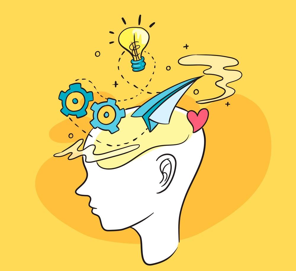 Desenho de uma cabeça com figuras saindo dela, representando inteligência emocional.